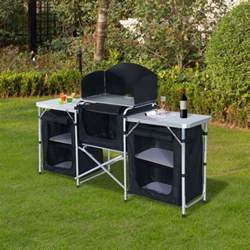 Portable Kitchen Table 6ft Picnic Portable Cing Kitchen Table Food Storage Cabinet Ebay