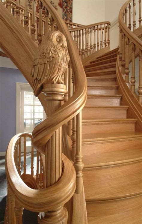 unique carved wood staircase ideas  exclusive feature