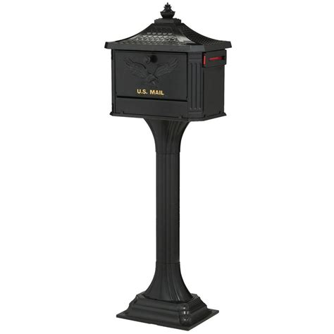 gibraltar mailboxes pedestal mailbox and post combo black