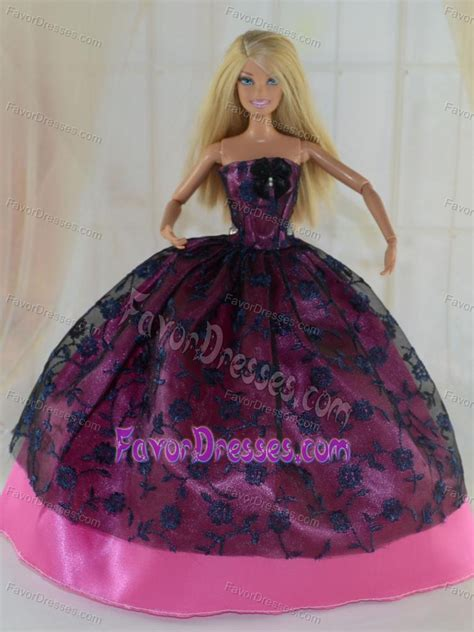 elegant ball gown party clothes lace black  hot pink
