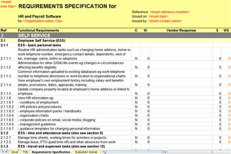 service requirements template screen of the hr and payroll rfi rfp template
