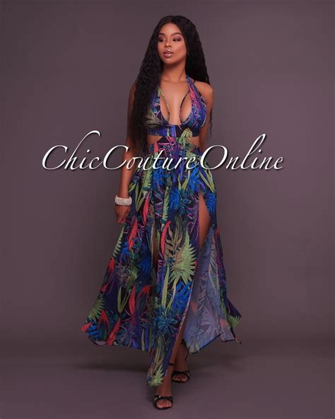 mf dress wanita milena maxi milena black tropical print cover up maxi dress