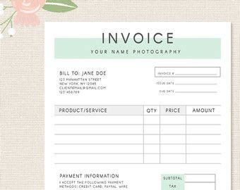 photoshop invoice template invoice template photography invoice business invoice