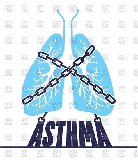 clipart royalty free bronchial asthma concept lungs with chain royalty free