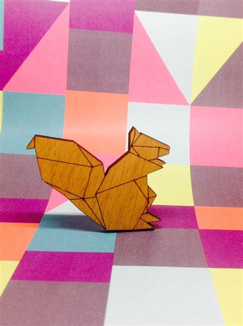 Origami Geometry Project - origami style squirrel geometric laser cut wooden wood