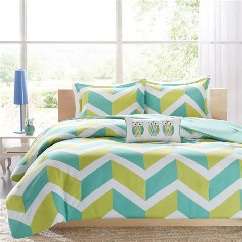 chevron comforter sets details about lime green aqua white modern girls teen