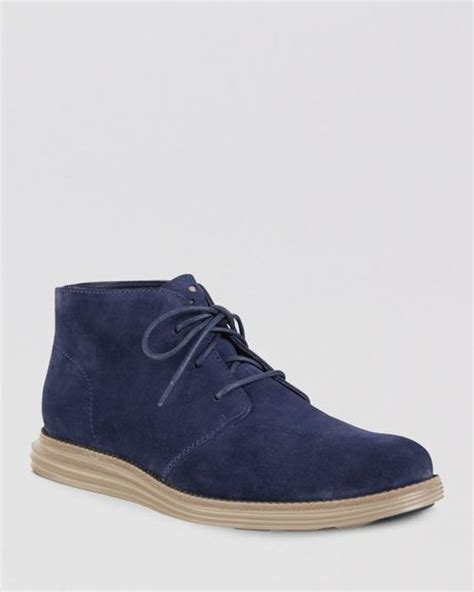 cole haan lunargrand suede chukka boots in blue for