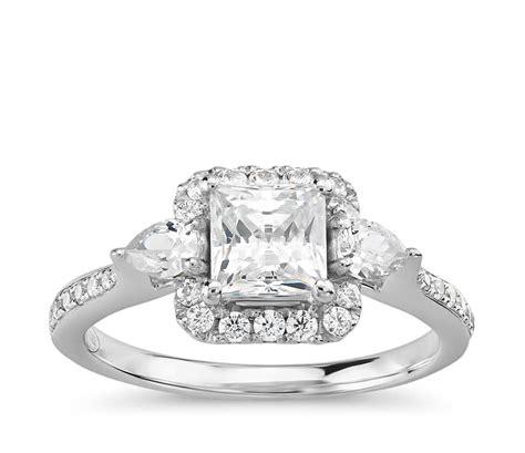 truly zac posen princess cut halo engagement ring