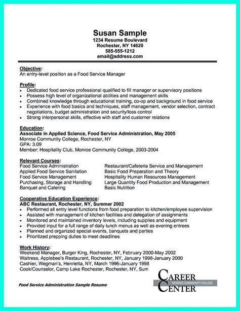 Example Career Objective For Resume by Attractive But Simple Catering Manager Resume Tricks