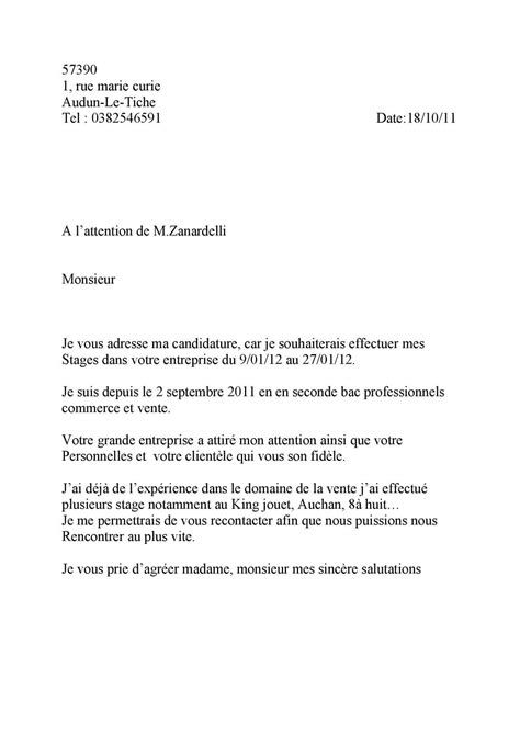 Lettre De Motivation Vendeuse King Jouet Lettre De Motivation Stage King Jouet Document