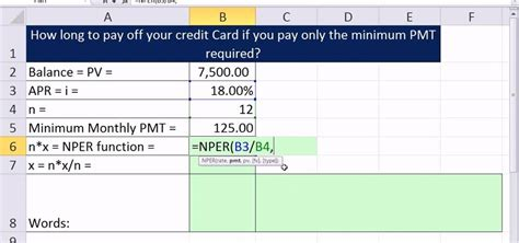 Credit Card Emi Calculation Formula In Excel How To Calculate The Number Of Periods It Takes To Pay A Credit Card In Excel 171 Microsoft