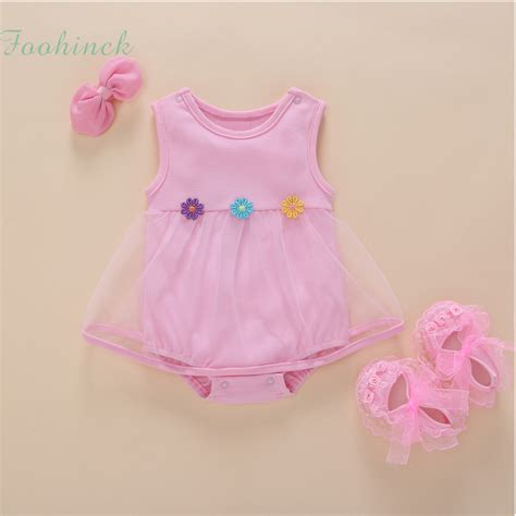 Clothes Baby 1 baby clothes 1st birthday baby bodysuit dress solid color sleeveless summer lace tulle