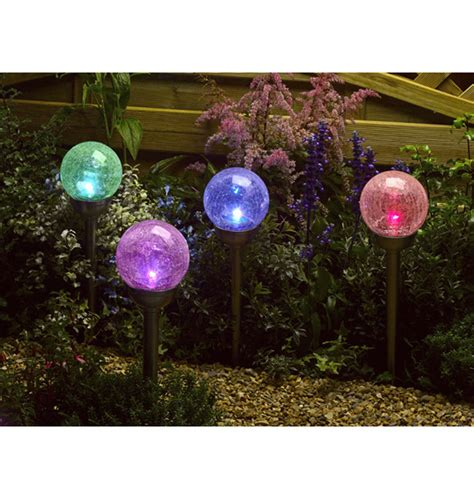 Crackle Globe Solar Lights - smart garden solar crackle globe stake lights colour changing 4 pack party lights company