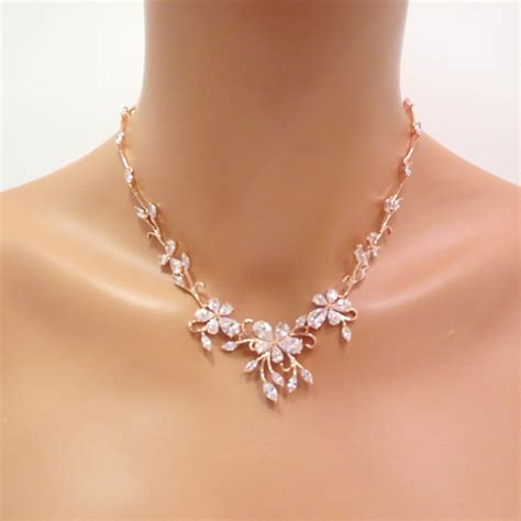 braut kette rose gold bridal necklace wedding jewelry set rose gold