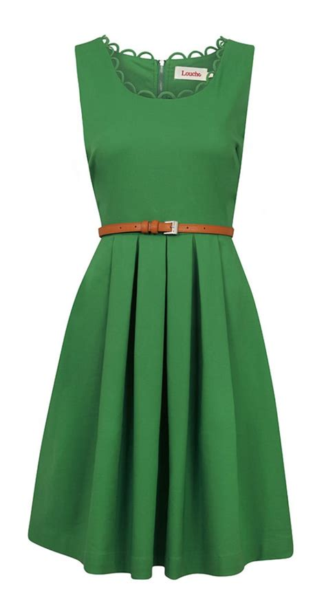 belted green dress my style