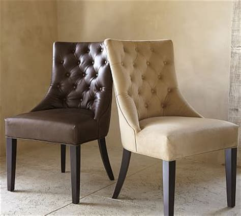 Hayes Tufted Leather Dining Side Chair Pottery Barn Pottery Barn Leather Dining Chair