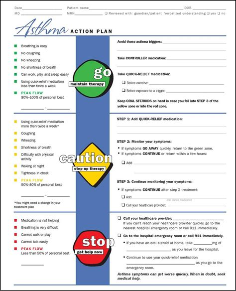 My Life As An Asthma Mom July 2012 Asthma Plan Template