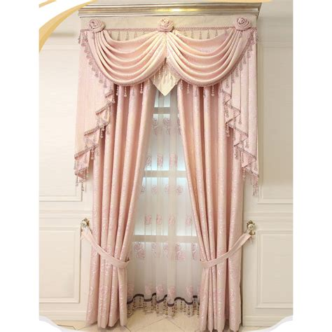 pink valance curtains pink floral jacquard artificial fiber custom valance curtains