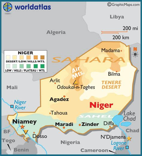 5 themes of geography niger niger large color map