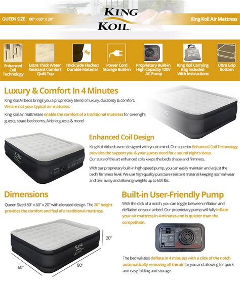 king koil size luxury raised air mattress best airbed with built