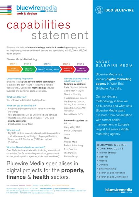 capability statement template bluewire media capabilities statement v2 6 images frompo