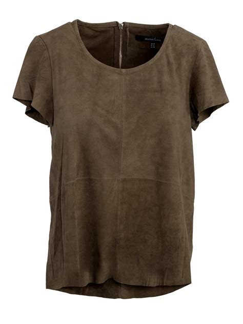 muubaa ella suede t shirt in burnt oak
