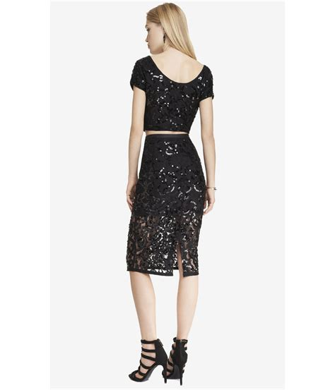 express lace sequin midi pencil skirt in black lyst