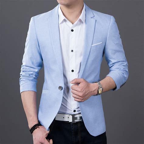 Blazer Santai Jual Blazer Pria One Button Bl 13 Blazer Biru