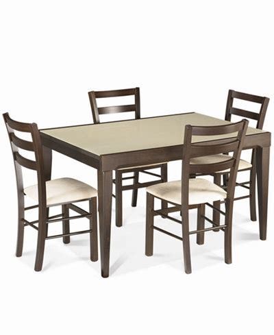 Cafe Latte Dining Table Caf 233 Latte 5 Dining Set Glass Top Dining Table And 4 Slatback Chairs Furniture Macy S