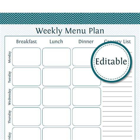 weekly menu planner with grocery list fillable printable