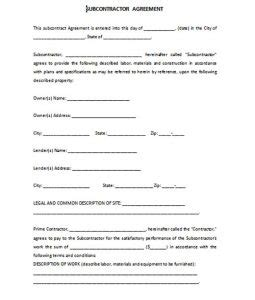 subcontract agreement format template business