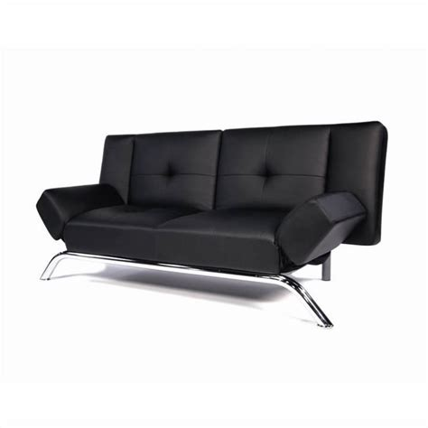 faux leather convertible sofa in black 2002007
