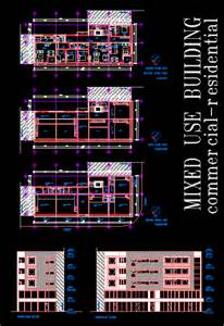 Multifamily Home Plans Mixed Use Building In Autocad Drawing Bibliocad