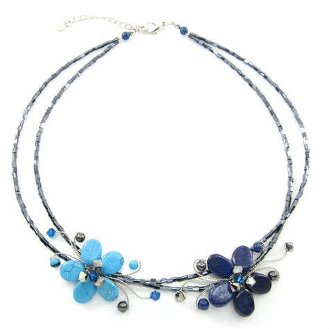 Handmade Collar Necklace - swarovski with blue turquoise and lapiz lazuli