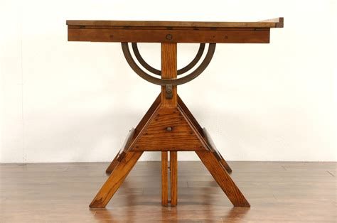 artist drafting table sold oak pine adjustable artist drafting table 1930 s
