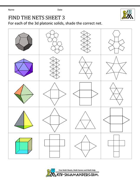 nets worksheets grade 6 geometry nets worksheets find the nets 3 math middle