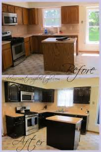 How To Gel Stain Kitchen Cabinets by Gel Stain Kitchen Cabinet Before After Black Cabinets