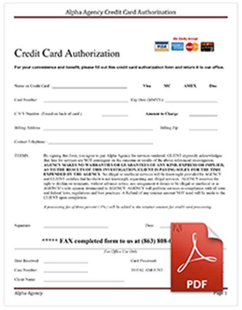 Credit Card Form Pdf Alpha Agency Forms Downloads