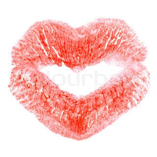 kiss print in the shape of heart | stock photo | colourbox