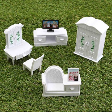 plastic dolls house furniture sets new diy white living room set plastic doll house