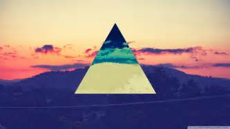 sunset inverted colour triangle wallpaper