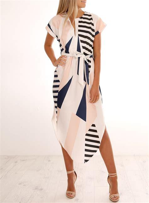 Sleeve Patterned Dress fashion v neck sleeve geometric patterned dress