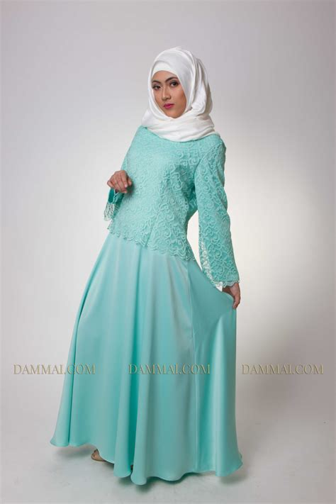 Gamis Muslim Aresya Dress turqoise brokat dress dammai