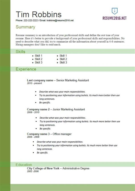 Resume Templates For Pages 2016 Resume Templates 2016 Which One Should You Choose