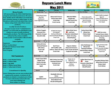 Daycare Menu Templates blank lunch menus for daycare calendar template 2016