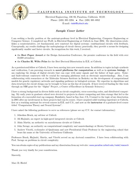 Cover Letter Faculty Position by Cover Letter For Assistant Professor Sle Guamreview