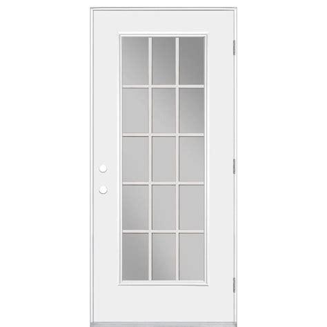 15 Lite Exterior Door Masonite 36 In X 80 In Premium Fan Lite Primed Steel Prehung Front Door With Brickmold 28072