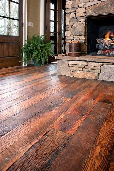 More #rustic hardwood with a beautiful fireplace to match