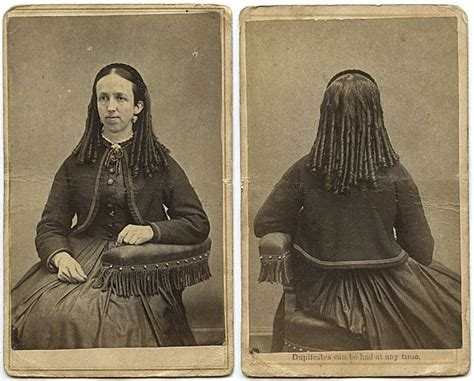 victorian era hairstyles with curls front and back views of a tight ringlet curl c 1860s