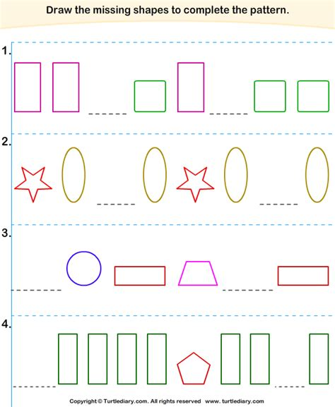 complete the pattern for kindergarten complete the missing pattern turtlediary com